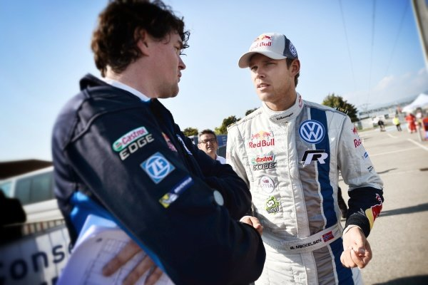 Andreas Mikkelsen (DEN), Volkswagen Polo R WRC, right. FIA World Rally Championship, Rd11, Rallye De France, Strasbourg, Alsace, France. Day Two, Saturday 4 October 2014.