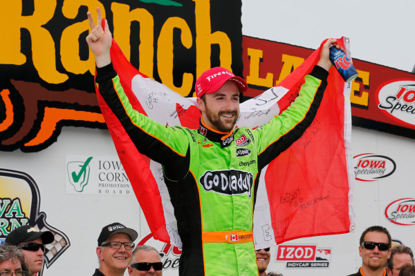 22-23 June, 2013,Newton, Iowa, USA James Hinchcliffe celebrates with the Canadian flag .(c) 2013, Perry Nelson LAT Photo USA