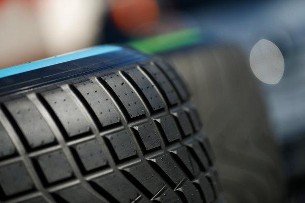 Circuit de Barcelona Catalunya, Barcelona, Spain. Friday 10 March 2017. Wet and intermediate Pirelli tyres. World Copyright: Glenn Dunbar/LAT Images ref: Digital Image _31I7395