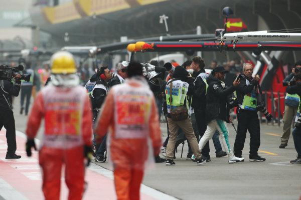 Shanghai International Circuit, Shanghai, China.  Friday 07 April 2017. Lewis Hamilton, Mercedes AMG, goes for a wander. World Copyright: LAT Images ref: Digital Image AN7T4612