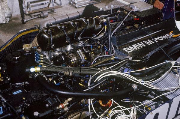 Jacarepagua, Rio de Janeiro, Brazil. 21-23 March 1986.Brabham BT55-BMW engine, derail.World Copyright: LAT Photographic.Ref:  86BRA27.