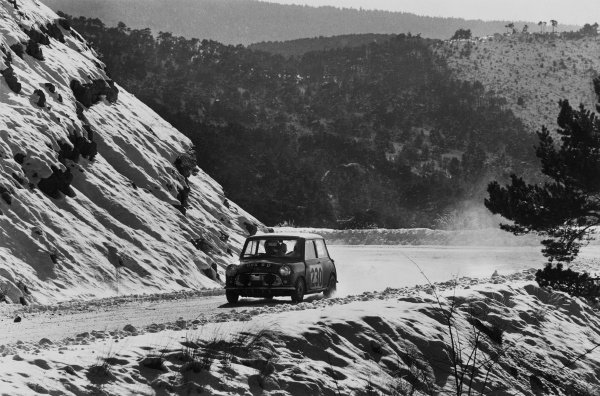 1966 Monte Carlo Rally.Monte Carlo, Monaco. 14th - 21st January 1966.Paddy Hopkirk/Henry Liddon, Mini-Cooper S, 3rd position overall, action. World Copyright:LAT Photographic.Ref: B/W Print.