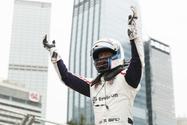 Sam Bird (GBR), Envision Virgin Racing, celebrates after the race.