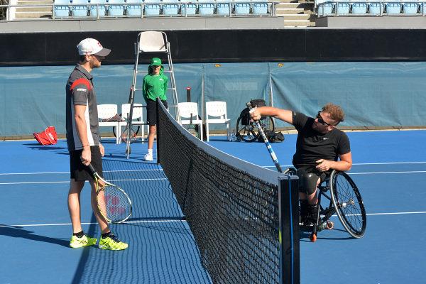 Romain Grosjean (FRA) Haas F1 and Dylan Alcott (AUS) Wheelchair Tennis Player at Formula One World Championship, Rd1, Australian Grand Prix, Preparations, Albert Park, Melbourne, Australia, Thursday 23 March 2017.