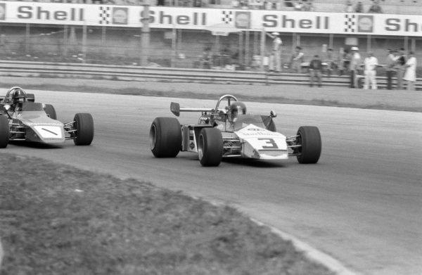 Silvio Moser, Brabham BT38 Ford/Schenker, leads Graham Hill, Brabham BT38 Ford/R.E.S.
