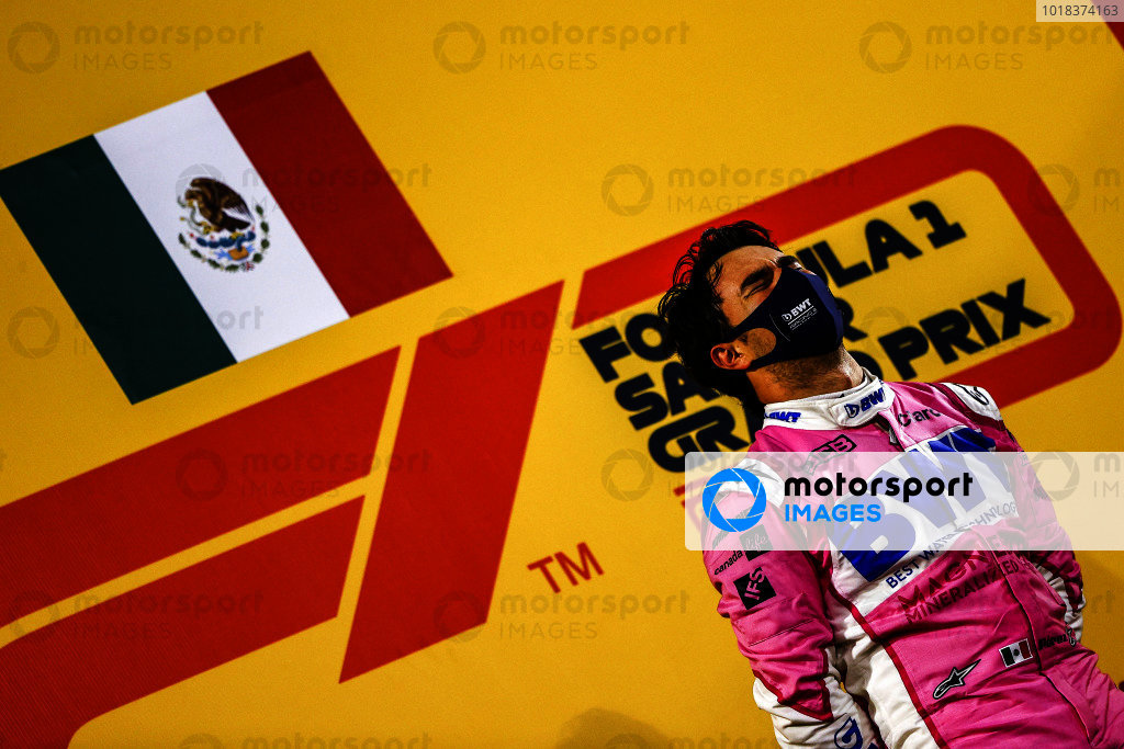 Sergio Perez, Racing Point, 1st position, on the podium