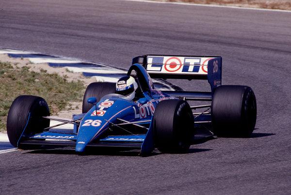 1988 Spanish Grand Prix.Jerez, Spain.30/9-2/10 1988.Stefan Johansson (Ligier JS31 Judd).Ref-88 ESP 24.World Copyright - LAT Photographic