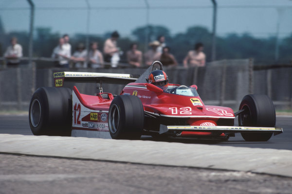 Silverstone, England. 12th - 14th July 1979.Gilles Villeneuve (Ferrari 312T4) 14th position, action. World Copyright: LAT Photographic.Ref: 79GB23