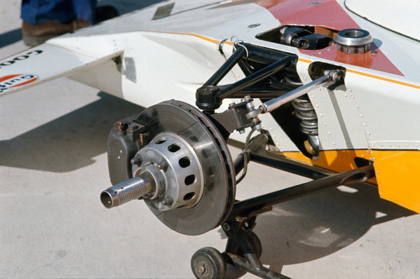 1973 United States Grand Prix.  Watkins Glen, New York, USA. 5-7th October 1973.  McLaren M23 Ford front suspension and brake detail.  Ref: 73USA03. World copyright: LAT Photographic