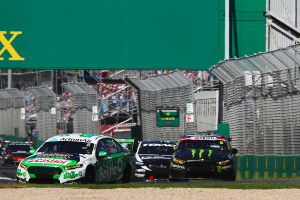 Mark Winterbottom, Tickford Racing Ford, leads Cameron Waters, Tickford Racing Ford.