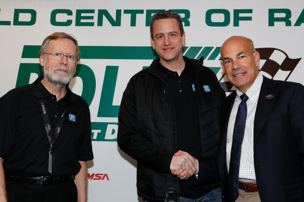 2014 TUDOR United Sportscar Championship Rolex 24 Hours Daytona 23-26 January, 2014, Daytona Beach, Florida, USA Julio Caspari and Norbert Odendahl of ZF and Scott Atherton of IMSA announce a partnership. © 2014, Michael L. Levitt LAT Photo USA
