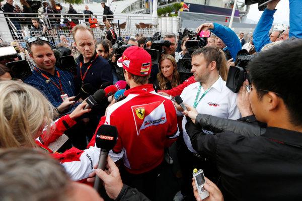 Monte Carlo, Monaco. Thursday 21 May 2015. Sebastian Vettel, Ferrari, talks to the media. World Copyright: Alastair Staley/LAT Photographic. ref: Digital Image _79P0327