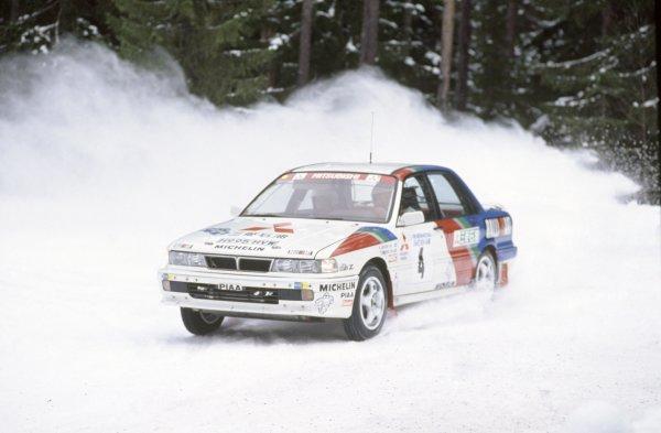 1991 World Rally Championship.Swedish Rally, Sweden. 16-18 February 1991.Kenneth Eriksson/Staffan Parmander (Mitsubishi Galant VR4), 1st position.World Copyright: LAT PhotographicRef: 35mm transparency 91RALLY02
