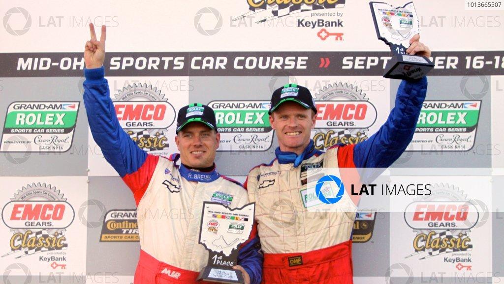 16-17 September, 2011, Lexington, Ohio USA Ronnie Bremer, left, and Robin Liddell celebrate their GT class win. (c)2011, R.D. Ethan LAT Photo USA