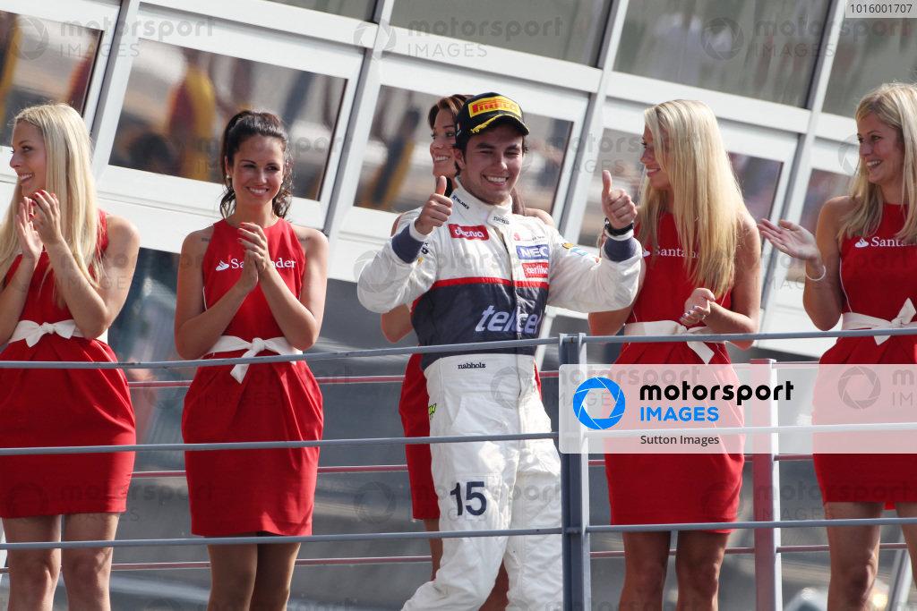 Second placed Sergio Perez (MEX) Sauber celebrates on the podium. Formula One World Championship, Rd 13, Italian Grand Prix, Race, Monza, Italy, Sunday 9 September 2012.  BEST IMAGE