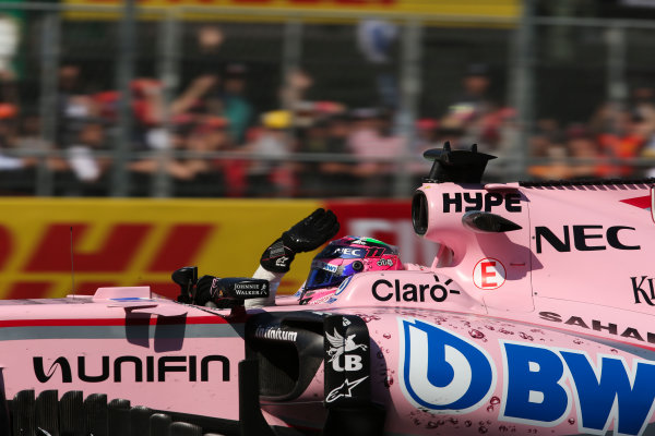 Autodromo Hermanos Rodriguez, Mexico City, Mexico. Friday 27 October 2017. Sergio Perez, Force India VJM10 Mercedes, waves to his home crowd. World Copyright: Charles Coates/LAT Images  ref: Digital Image AN7T8593