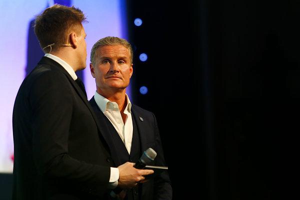 2017 British Racing Drivers Club Awards. London Hilton Hotel, Park Lane, London. Monday 4th December 2017. Jake Humphrey and David Coulthard. World Copyright: Jakob Ebrey / LAT Images. Ref: Coulthard-01 (2)