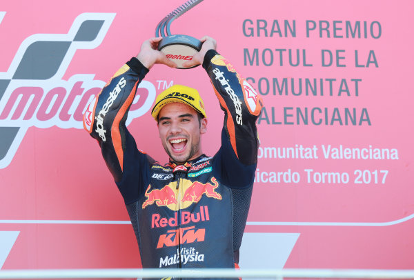 2017 Moto2 Championship - Round 18 Valencia, Spain  Sunday 12 November 2017 Podium: Race winner Miguel Oliveira, Red Bull KTM Ajo  World Copyright: Gold and Goose Photography/LAT Images  ref: Digital Image 706491