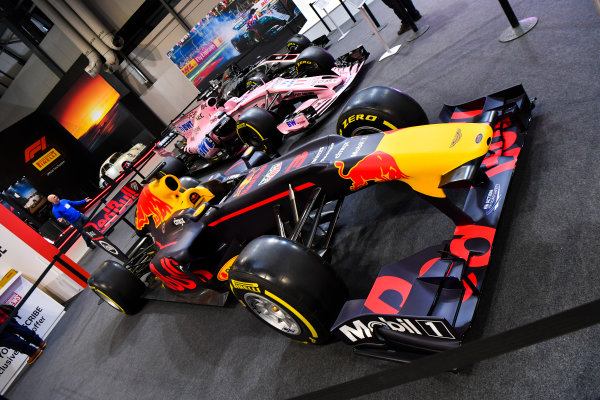 Autosport International Exhibition. National Exhibition Centre, Birmingham, UK. Thursday 11th January 2017. A Red Bull and Force India on the F1 Racing Stand.World Copyright: Mark Sutton/Sutton Images/LAT Images Ref: DSC_7081