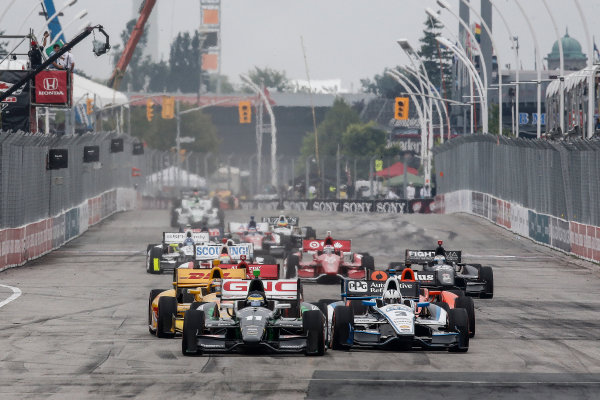 20 July, 2014, Toronto, Ontario, Canada Sebastien Bourdais leads into the first corner at the start ©2014, Michael L. Levitt LAT Photo USA