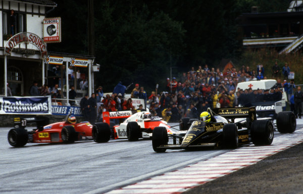 Ayrton Senna (BRA) Lotus 97T. Formula One World Championship, Rd13, Belgian Grand Prix, Spa-Francorchamps, Belgium, 15 September 1985.
