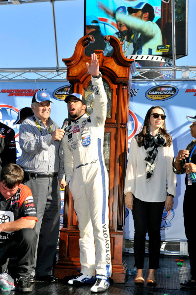 24-25 October, 2014, Martinsville, Virginia USA Darrell Wallace Jr celebrates his win in Victory Lane ? 2014, Nigel Kinrade LAT Photo USA
