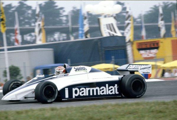1982 Swiss Grand Prix.Dijon-Prenois, France. 29 August 1982.Nelson Piquet, Brabham BT50-BMW, 4th position, action.World Copyright: LAT PhotographicRef: 35mm transparency 82SUI