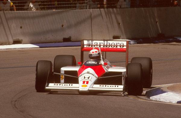 Adelaide, Australia.11-13 November 1988.Alain Prost (McLaren MP4/4 Honda) 1st position.Ref-88 AUS 20.World Copyright - LAT Photographic