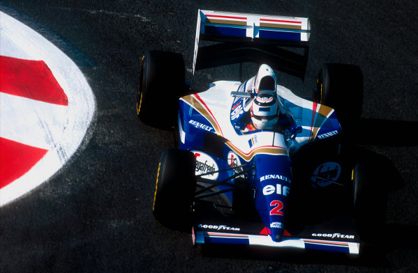 1994 French Grand Prix.Magny-Cours, France.30/6-2/7 1994.Nigel Mansell (Williams FW16 Renault). He exited the race after his transmission's hydraulic pump failed.Ref-94 FRA 03.World Copyright - LAT Photographic