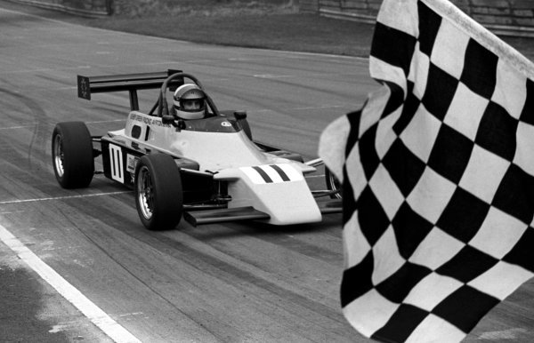 Race winner Ayrton Senna (BRA) Rushen Green Racing Van Diemen RF82 takes the chequered flag at the end of the race. British Formula Ford 2000 Championship, Oulton Park, England, 27 March 1982.