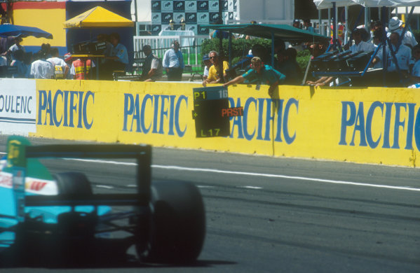 1990 French Grand Prix.Paul Ricard, Le Castellet, France. 6-8 July 1990.Ivan Capelli (Leyton House CG901 Judd) passes his pit board, which tells him he is leading Prost. He ended up in 2nd position. Ref-90 FRA 14.World Copyright - LAT Photographic