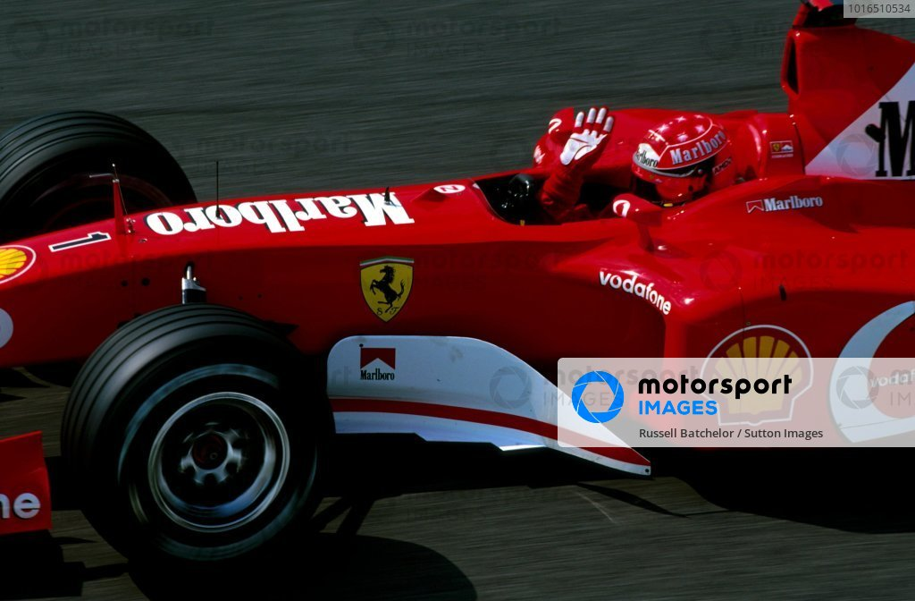 Michael Schumacher (GER) Ferrari F2002 took an emotional first victory of the season, just hours after his mother passed away. San Marino Grand Prix, Rd4, Imola, Italy, 20 April 2003. BEST IMAGE