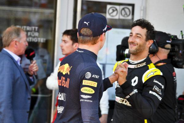 Daniel Ricciardo, Renault F1 Team congratulates Race winner Max Verstappen, Red Bull Racing in Parc Ferme
