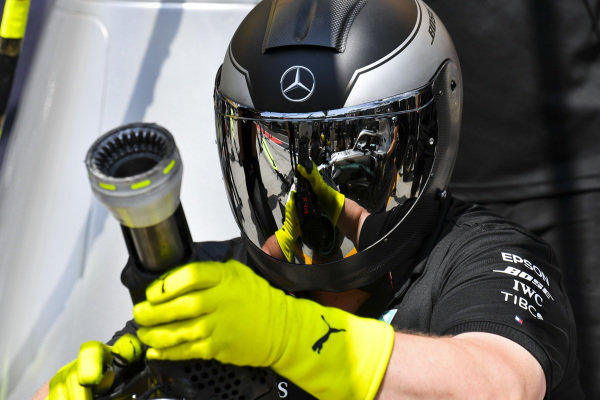 Mechanic during Mercedes AMG F1 pit stop practice