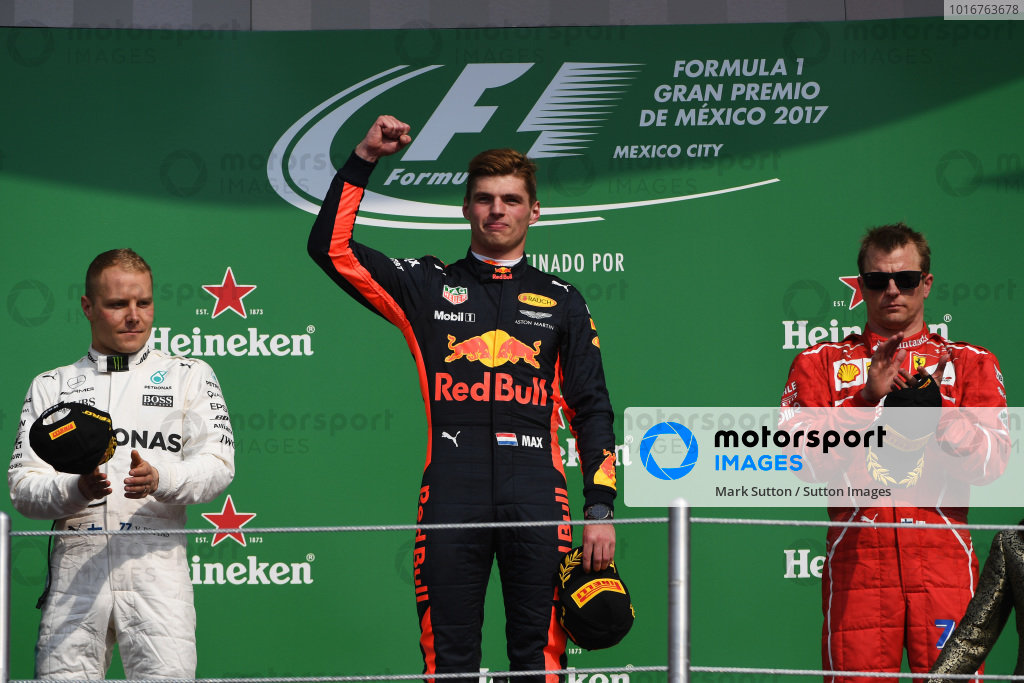 (L to R): Valtteri Bottas (FIN) Mercedes AMG F1, Max Verstappen (NED) Red Bull Racing and Kimi Raikkonen (FIN) Ferrari celebrate on the podium at Formula One World Championship, Rd18, Mexican Grand Prix, Race, Circuit Hermanos Rodriguez, Mexico City, Mexico, Sunday 29 October 2017. BEST IMAGE