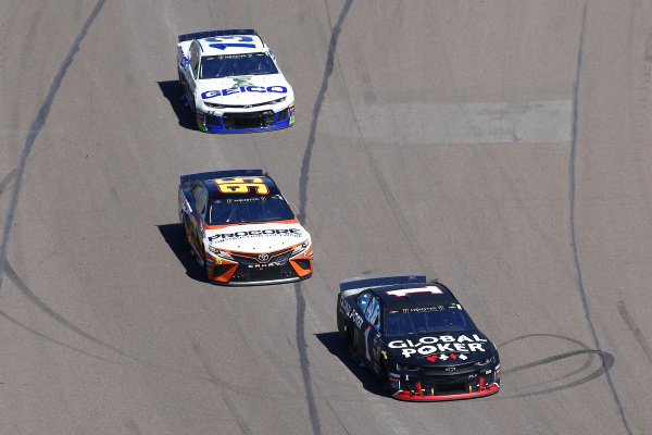#1: Kurt Busch, Chip Ganassi Racing, Chevrolet Camaro Global Poker and #95: Matt DiBenedetto, Leavine Family Racing, Toyota Camry Procore