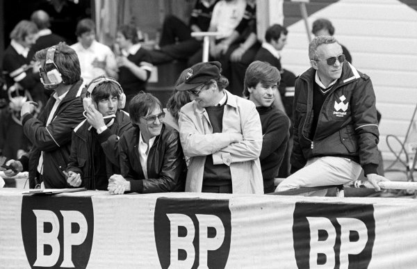 (L to R): Bernie Ecclestone (GBR) Brabham Team Owner watches the action from the pit wall with Niki Lauda (AUT). Behind Lauda is Ricardo Zunino (ARG), who was replaced as a driver by Hector Rebaque (MEX).Formula One World Championship, Rd8, British Grand Prix, Brands Hatch, England, 13 July 1980.