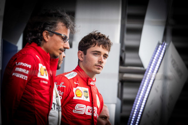 Laurent Mekies, Sporting Director, Ferrari, and Charles Leclerc, Ferrari, 1st position, on the podium