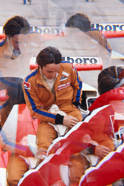 1977 British Grand Prix. Silverstone, England.14-16 July 1977.Gilles Villeneuve (McLaren Ford) 11th position on his Grand Prix debut.World Copyright - LAT Photographic