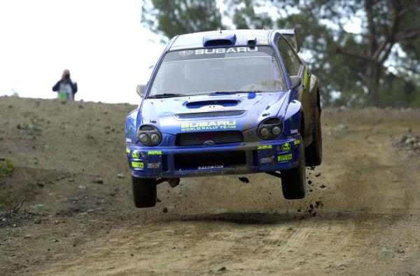 World Rally Championship, Cyprus Rally, April 18-21, 2002.Petter Solberg flies over a jump on Stage 8, Leg 2.Photo: Ralph Hardwick/LAT