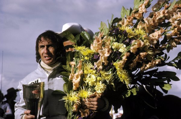 Race winner Jackie Stewart (GBR) Tyrrell celebrates his victory on the podium. Belgian Grand Prix, Zolder, 20 May 1973. BEST IMAGE