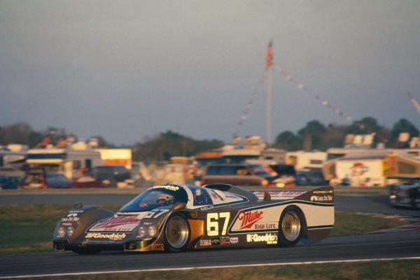 Daytona 24 hours, Florida, USA. 4th - 5th February 1989. Rd 1. John Andretti/Derek Bell/Bob Wollek (Porsche 962), 1st position, action.  World Copyright: LAT Photographic. Ref: 89IMSA DAY03.