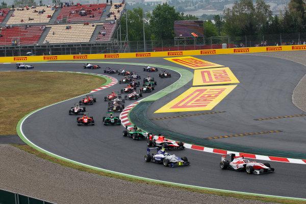 2014 GP3 Series Round 1 - Race 2. Circuit de Catalunya, Barcelona, Spain. Sunday 11 May 2014. Dino Zamparelli (GBR, ART Grand Prix) & Jimmy Eriksson (SWE, Koiranen GP)  Photo: Sam Bloxham/GP3 Series Media Service. ref: Digital Image _G7C7500