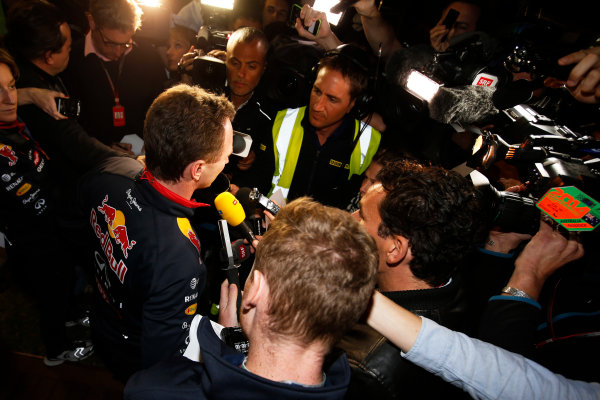 Albert Park, Melbourne, Australia. Sunday 16 March 2014. Christian Horner, Team Principal, Red Bull Racing, addresses the media regarding the disqualification of the car of Daniel Ricciardo, Red Bull Racing. World Copyright: Charles Coates/LAT Photographic. ref: Digital Image _J5R6546