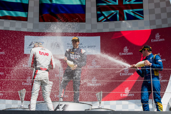 2017 FIA Formula 2 Round 5. Red Bull Ring, Spielberg, Austria. Sunday 9 July 2017. Alexander Albon (THA, ART Grand Prix), Artem Markelov (RUS, RUSSIAN TIME) and Oliver Rowland (GBR, DAMS).  Photo: Zak Mauger/FIA Formula 2. ref: Digital Image _54I0377