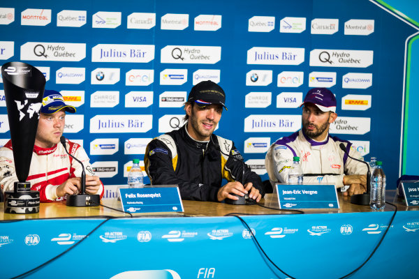 2016/2017 FIA Formula E Championship. Round 12 - Montreal ePrix, Canada Sunday 30 July 2017. Felix Rosenqvist (SWE), Mahindra Racing, Spark-Mahindra, Mahindra M3ELECTRO, Jean-Eric Vergne (FRA), Techeetah, Spark-Renault, Renault Z.E 16, and Jose Maria Lopez (ARG), DS Virgin Racing, Spark-Citroen, Virgin DSV-02, in the press conference. Photo: Sam Bloxham/LAT/Formula E ref: Digital Image _J6I7193