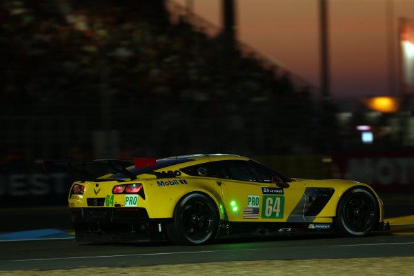 2017 Le Mans 24 Hours Circuit de la Sarthe, Le Mans, France. Thursday 15th June 2017 #64 Corvette Racing-GM Chevrolet Corvette C7.R: Oliver Gavin, Tommy Milner, Marcel Fassler  World Copyright: JEP/LAT Images