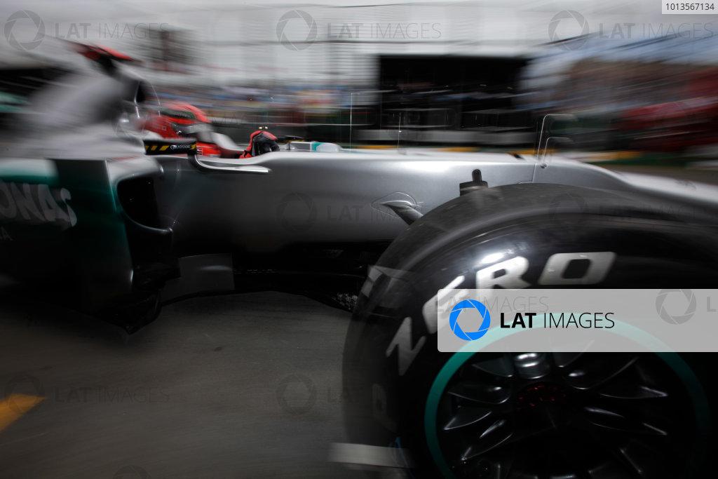 Albert Park, Melbourne, Australia 25th March 2011. Michael Schumacher, Mercedes GP W02, leaves the garage. Action.  World Copyright: Andrew Ferraro/LAT Photographic ref: Digital Image AF5D8829