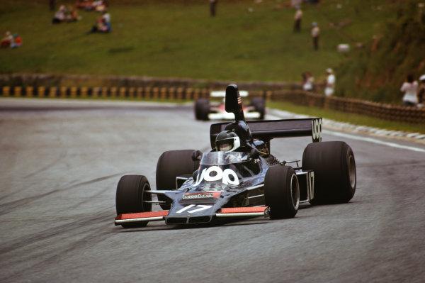 1975 Brazilian Grand Prix  Interlagos, Sao Paulo, Brazil. 24-26th January 1975.  Jean-Pierre Jarier, Shadow DN5 Ford, retired.  Ref: 75BRA07. World copyright: LAT Photographic