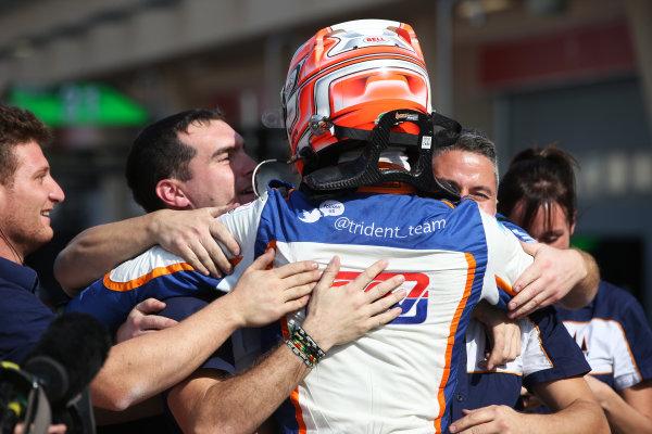2015 GP3 Series Round 8. Bahrain International Circuit, Bahrain Saturday 21 November 2015. Luca Ghiotto (ITA, Trident), celebrates his win Photo: Jakob Ebrey/GP3 Series Media Service. ref: Digital Image AD8T9968